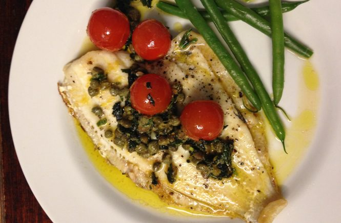 Plaice with capers, lemon & mint