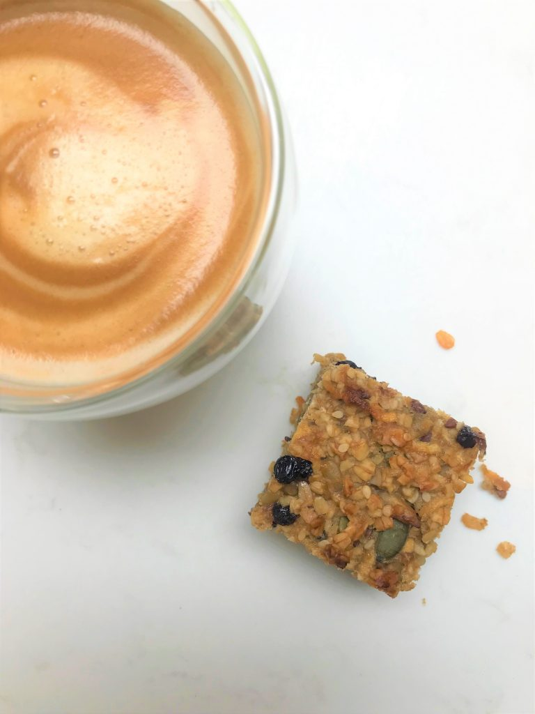 Tahini, banana & honey flapjack - a fruit-filled flapjack with dried fruit and mixed seeds