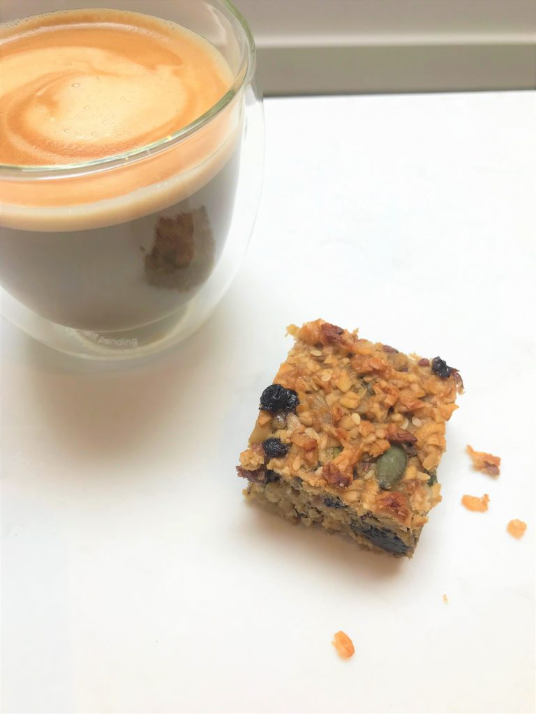 Tahini, banana & honey flapjack - delicious with coffee or a cup of tea